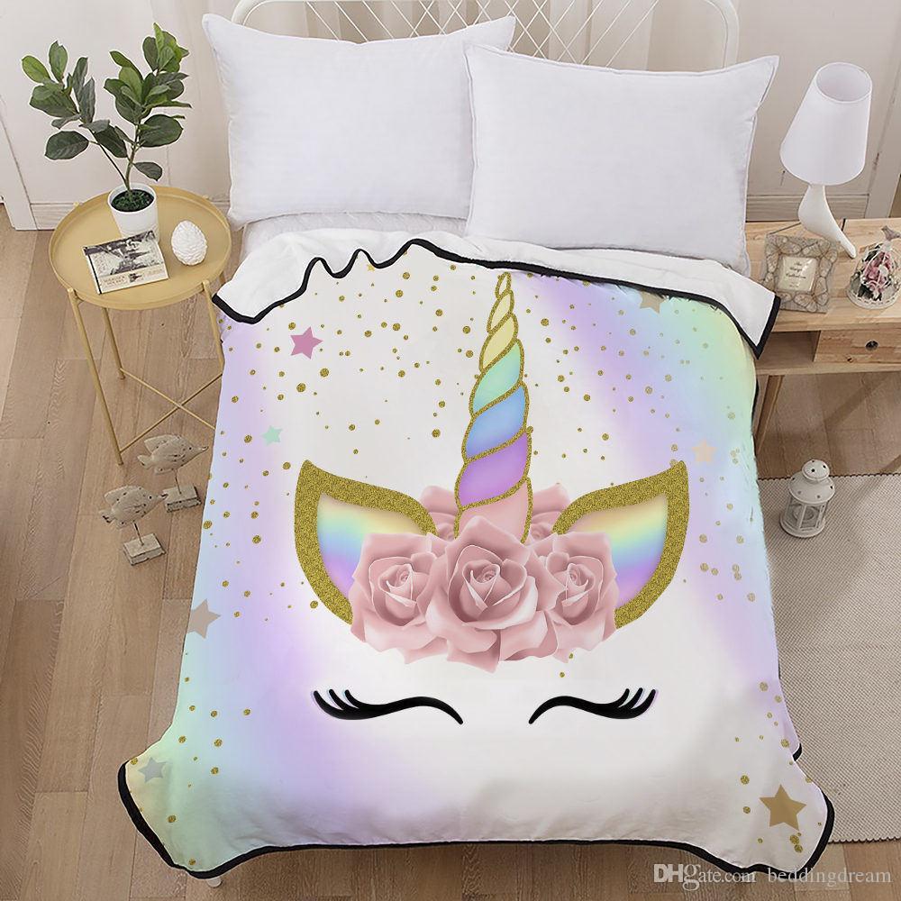 3D Impreso manta para la cama de dibujos animados del unicornio pintado fanstay Pacífica suave dulce hermosa colcha 1pc cómodo