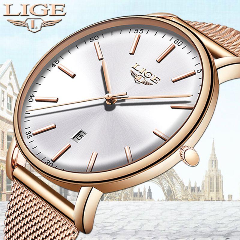 Lige Womens Watches Top Brand Luxury Waterproof Watch Fashion Ladies Stainless Steel Ultra-thin Casual Wristwatch Quartz Clock Y19052001