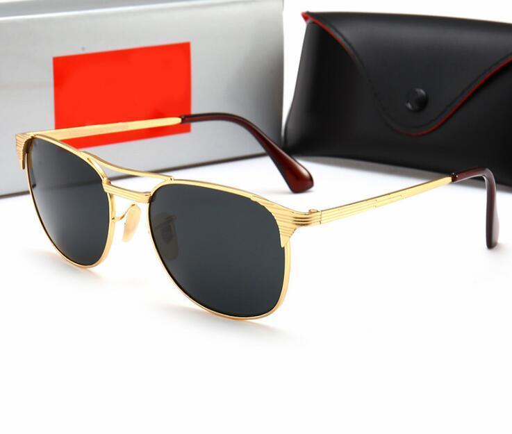 Primera marca Piloto mujeres de los hombres de la vendimia 58mm 62mm espejo UV400 Aviación espejo de cristal de las gafas de sol lente con casos de conducir 3429