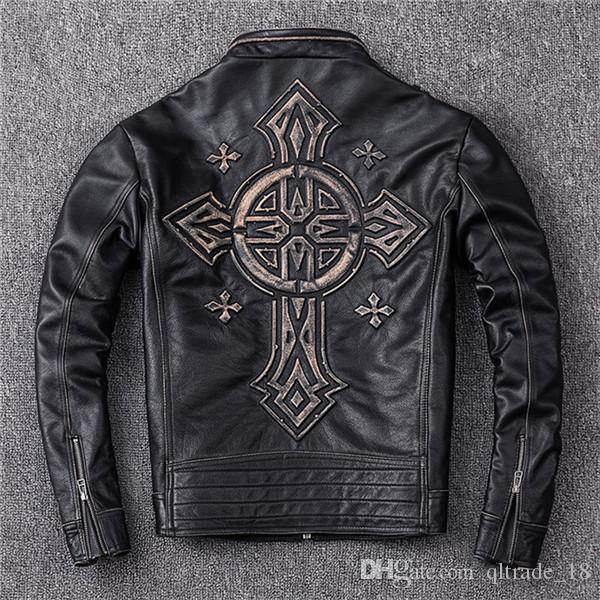 Estampado preto jaqueta de couro da motocicleta afliação gola 100% jaqueta de couro genuíno