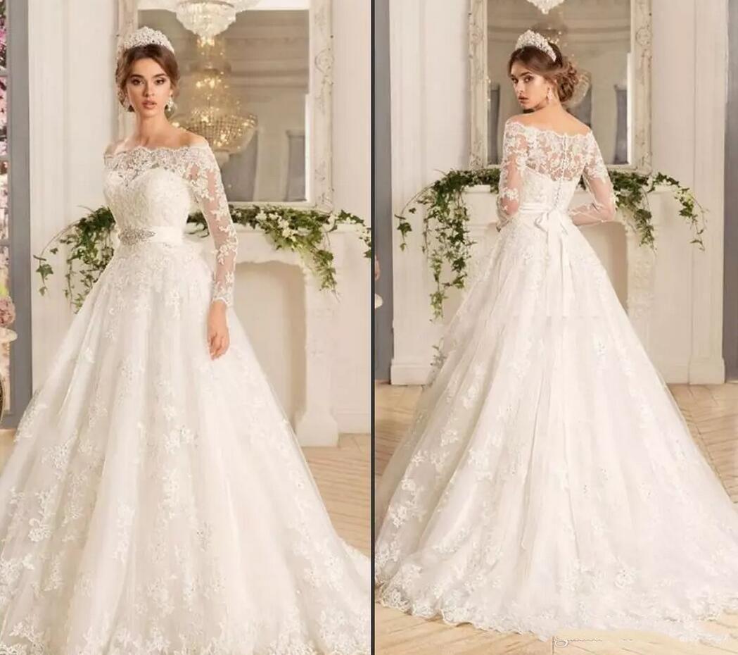 Discount Modest Long Sleeve Lace Wedding Dresses A Line 2019 Elegant Bateau Neckline Spring Country Garden Ivory Princess Bridal Gowns Plus Size Gown