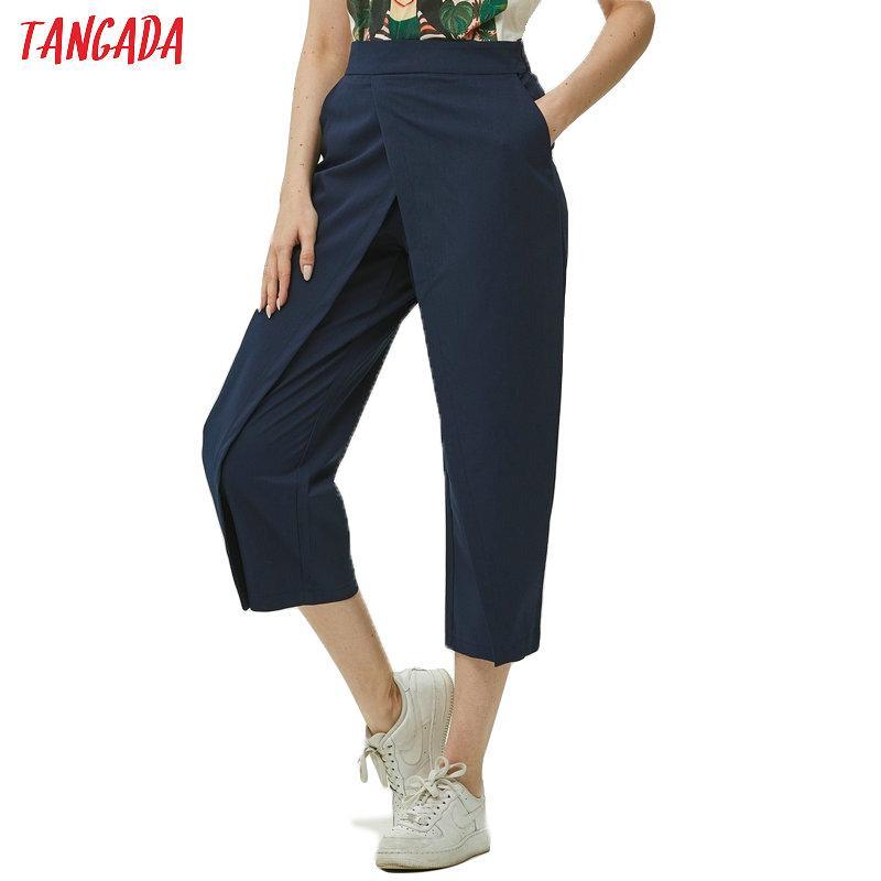 Дешевые Капри Тангада женщины элегантный темно-синий 2019 дамы случайные шаровары хлопок прохладный корейский модные брюки mujer XD449