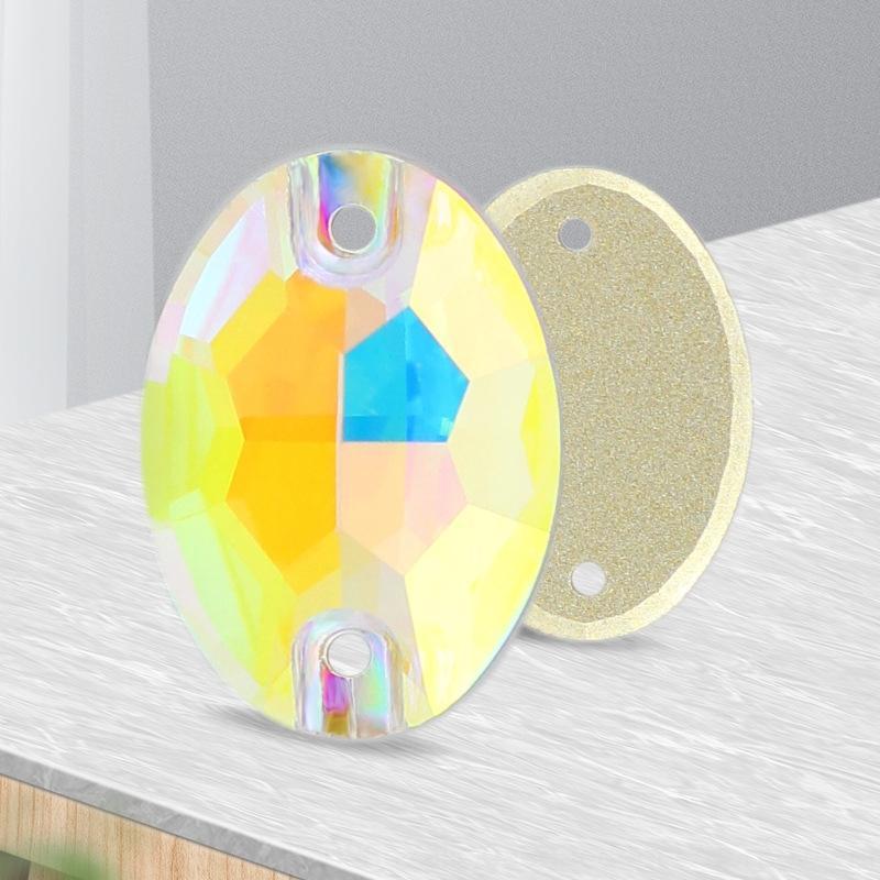 80i33 cristal oval de cristal del botón de fondo plano Diamond Dan en forma de cosido a mano brillante de alta gama súper diamante de fondo plano AB colorido bu 7Mvjv
