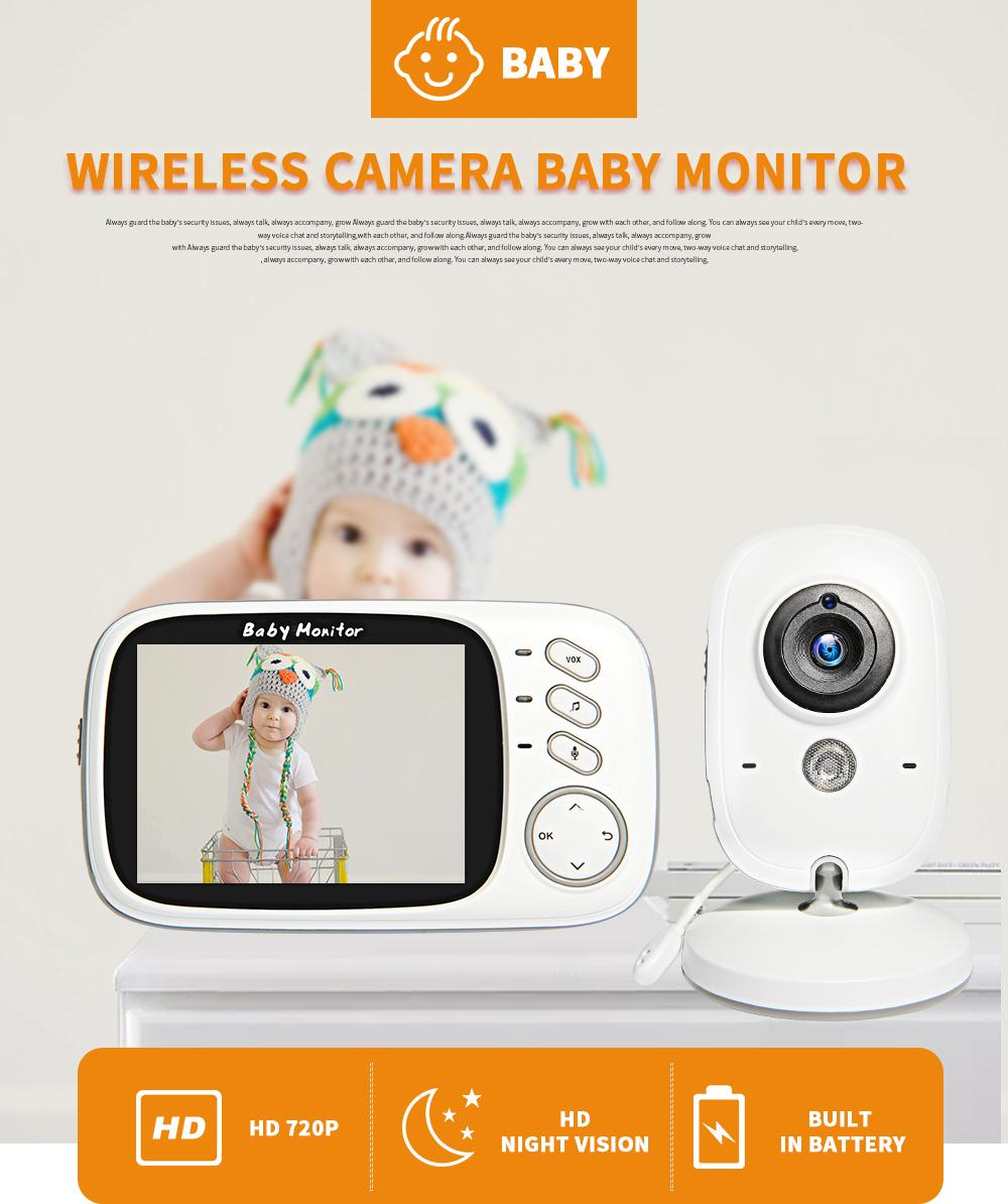 Wireless Video Color Baby Monitor 3.2 inch High Resolution Babys Nanny Security Camera Night Vision Temperature Sleeping Monitors