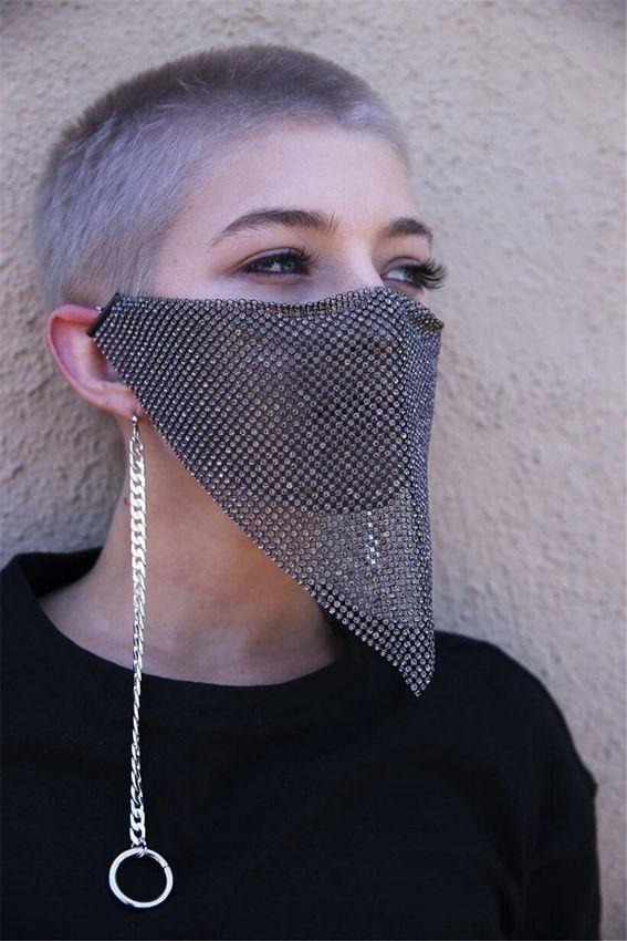 Модные побрякушки горный хрусталь маска для лица Jewlery для женщин лицо украшения для тела ночной клуб декоративные украшения партия маска KKA7883