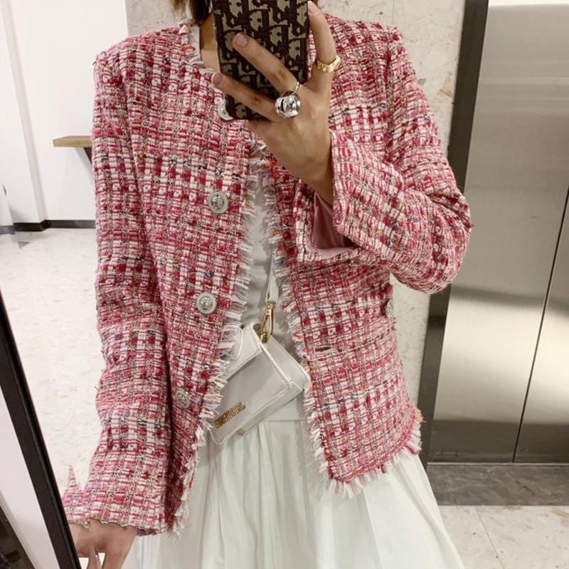 عالية الجودة تويد اللؤلؤ سترة معطف السيدات الخريف الشتاء معطر منقوش أنثى الستر الصوفية قصيرة معطف سليم