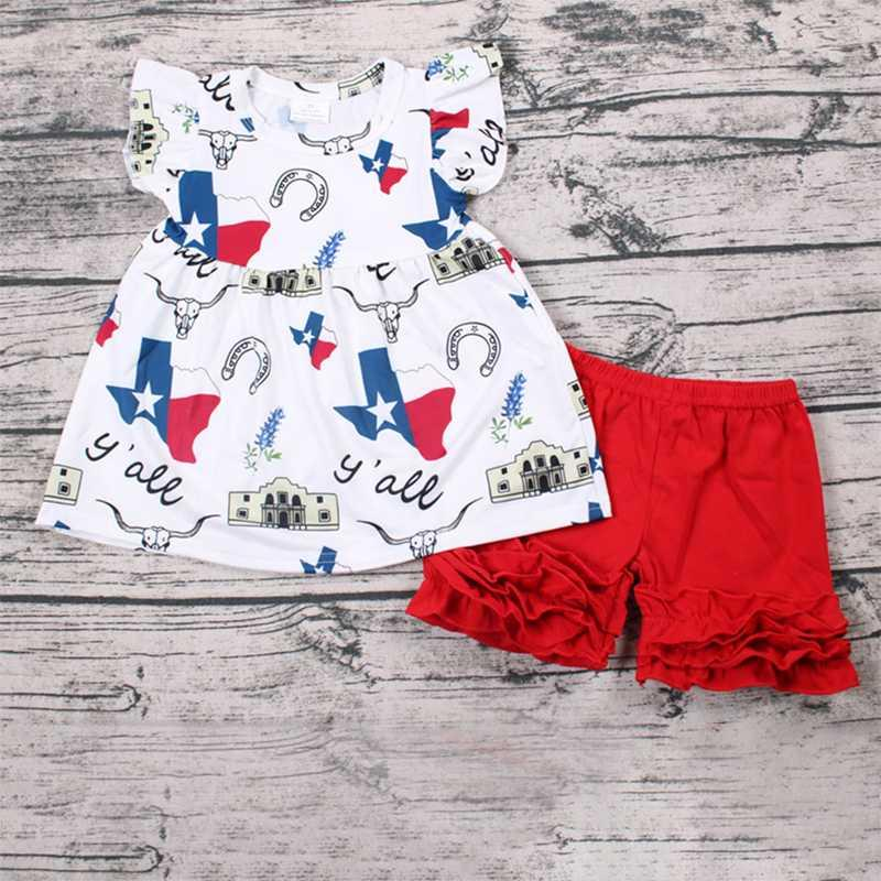 Baby summer outfit 2 pieces ruffle baby clothing set clothes bull flag Ruffle Short Pants toddler kid