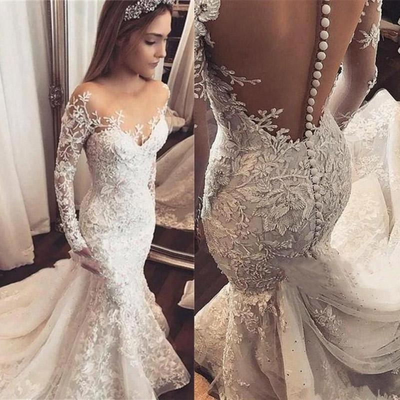 vestido novia 200 Sexy Mermaid Wedding Dress Long Sleeves Sheer Neck Lace Applique Wedding Gowns Transparent Backl Bride Dress
