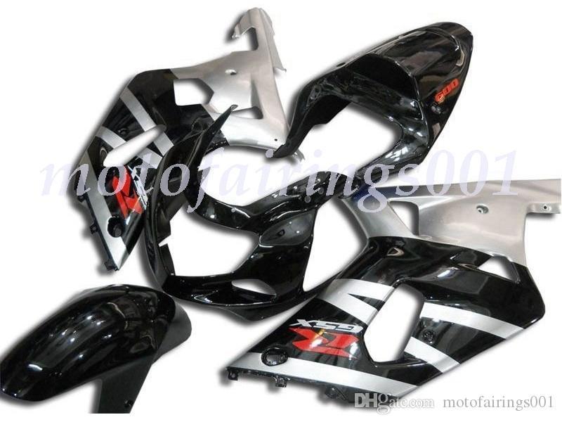 Новый стиль ABS литье под давлением Полного комплект обтекатели, пригодный для Suzuki GSX-R600 R750 600 750 k1 2001 2002 2003 обтекателей набора Черного Серебра и красного логотипа