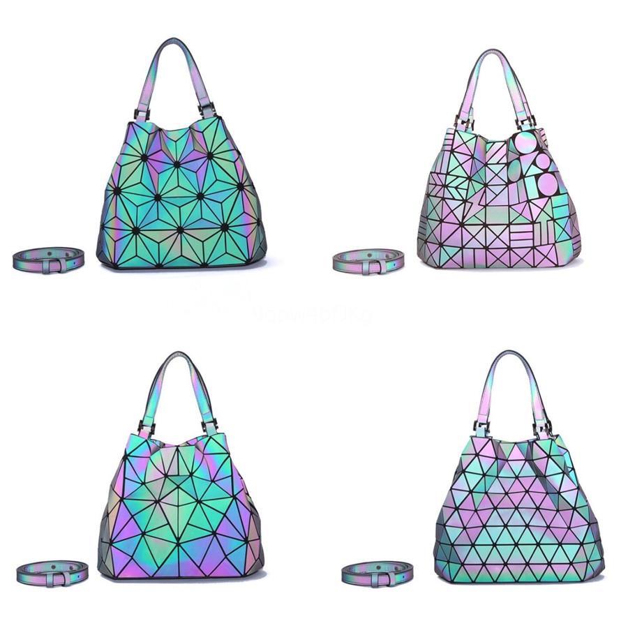 Marka Tasarımcı Yeni Parlayan Kadınlar Çanta Omuz Lazer Alışveriş Çantaları Geometrik Glitter Boyut L S Patchwork # 581