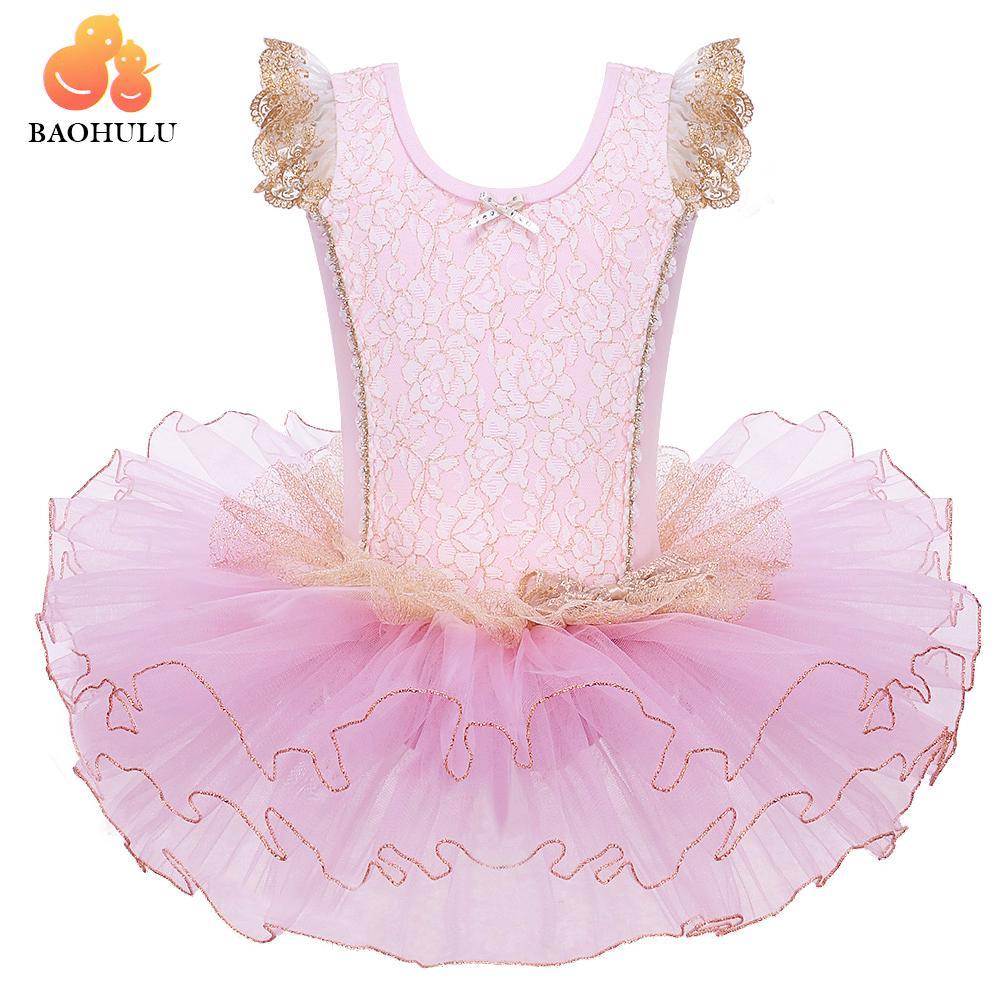 Großhandel Toddle Mädchen 1Pc Tanz-Ballett-Schuh-Druck-Muster-Kleid Short Sleeve Leotard Ballet Tutu Skate-Partei-Erscheinen-Kleid SZ3-8Y