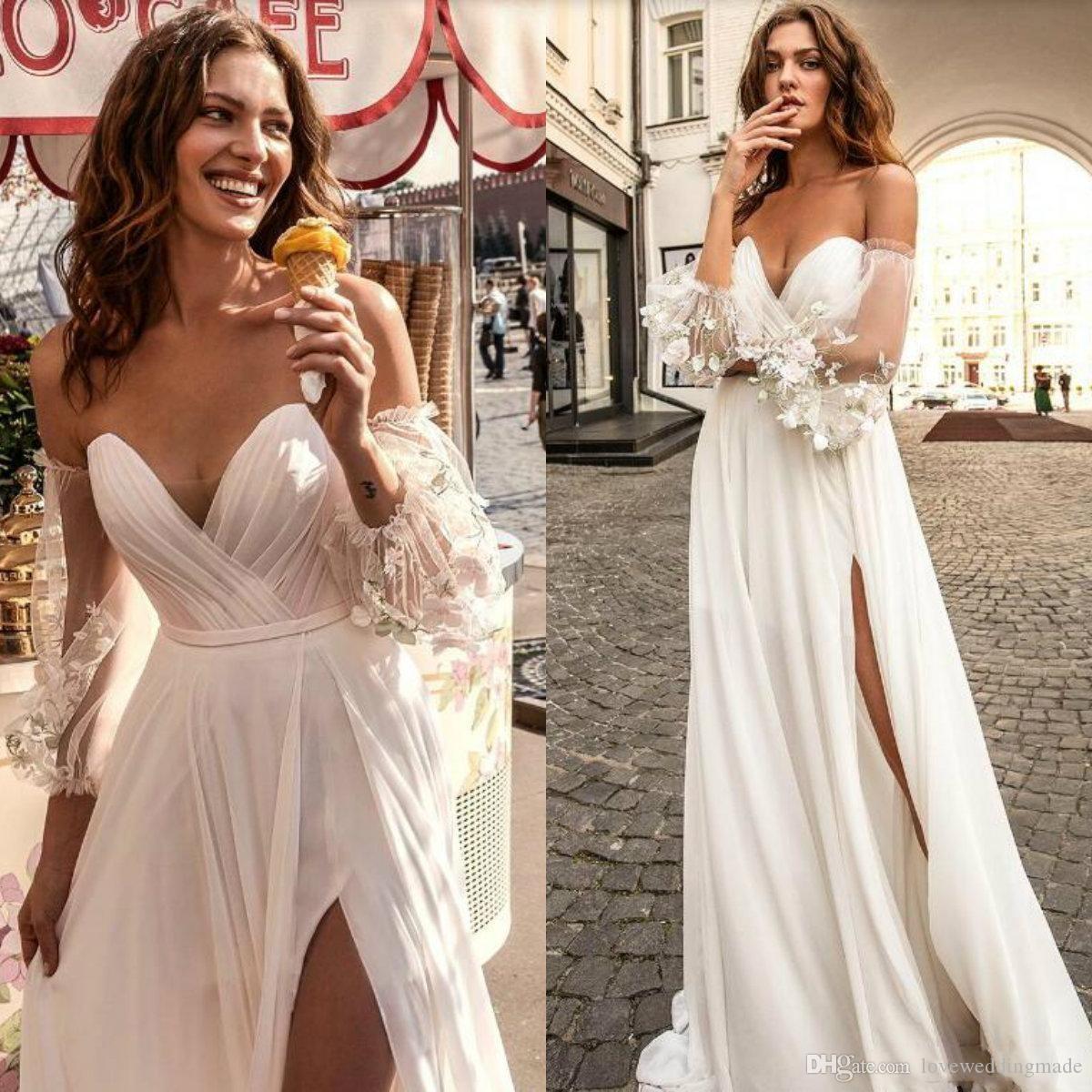 DiscountSexy Side Split A Line Beach Wedding Dresses With Long ...