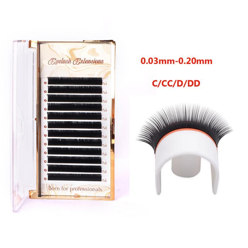 Factory supplied 12 Lines/Tray Soft Mink Eyelash Extension Individual Eye Lash Extensions C/CC/D/DD Curl False Lashes