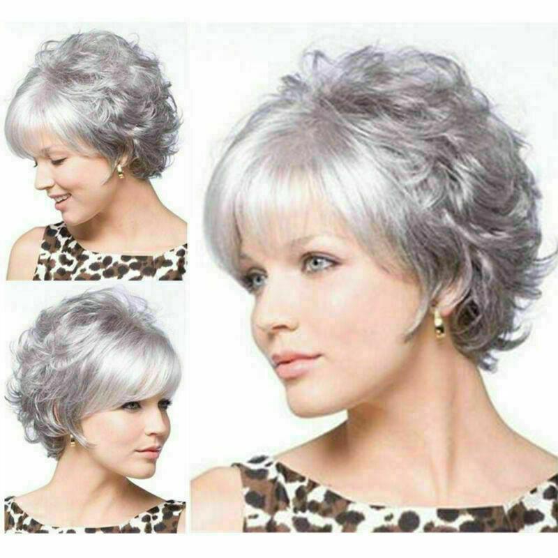 Lady Femmes Mode court Curly Perruques Blondes Cheveux ondulés Pexie Boycut perruque