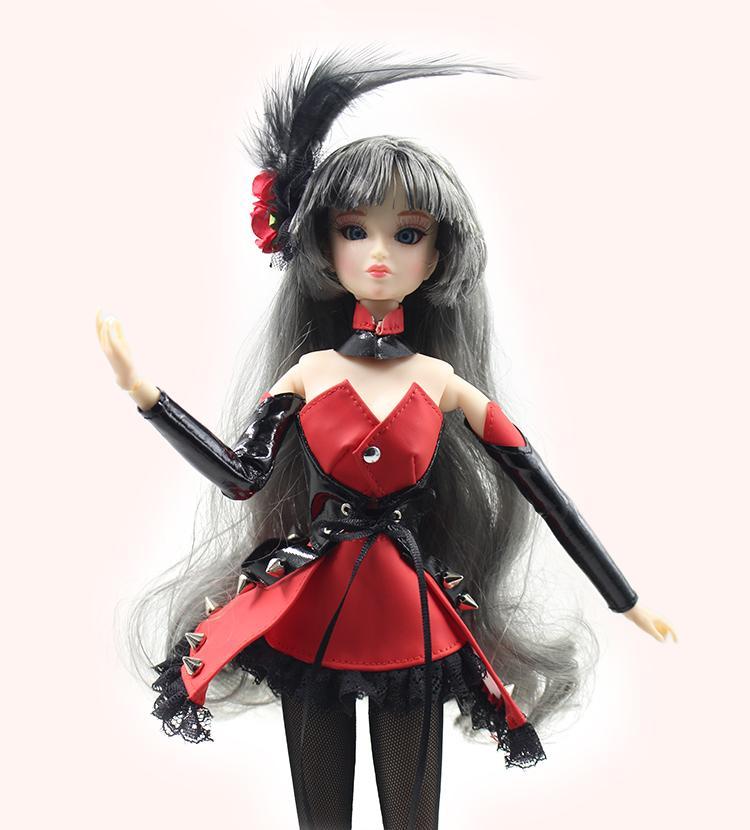 DBS BJD PUPPE Spielzeug Xiaojing graues Haar mit roten Kleid Schuhe und Strumpfstandkasten Erinnerungsgeschenk Spielzeug 30cm 1/6
