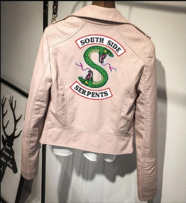إمرأة بو فو الجلود سترة Riverdale المطبوعة الشتاء الإناث عارضة رقيقة سترة واقية قميص خمر معاطف