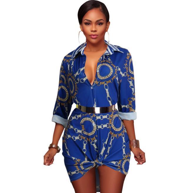 De lujo camisa para mujer vestidos de múltiples impresión de la manera de manga larga vestidos de cuello Laple las mujeres ocasionales Blusas