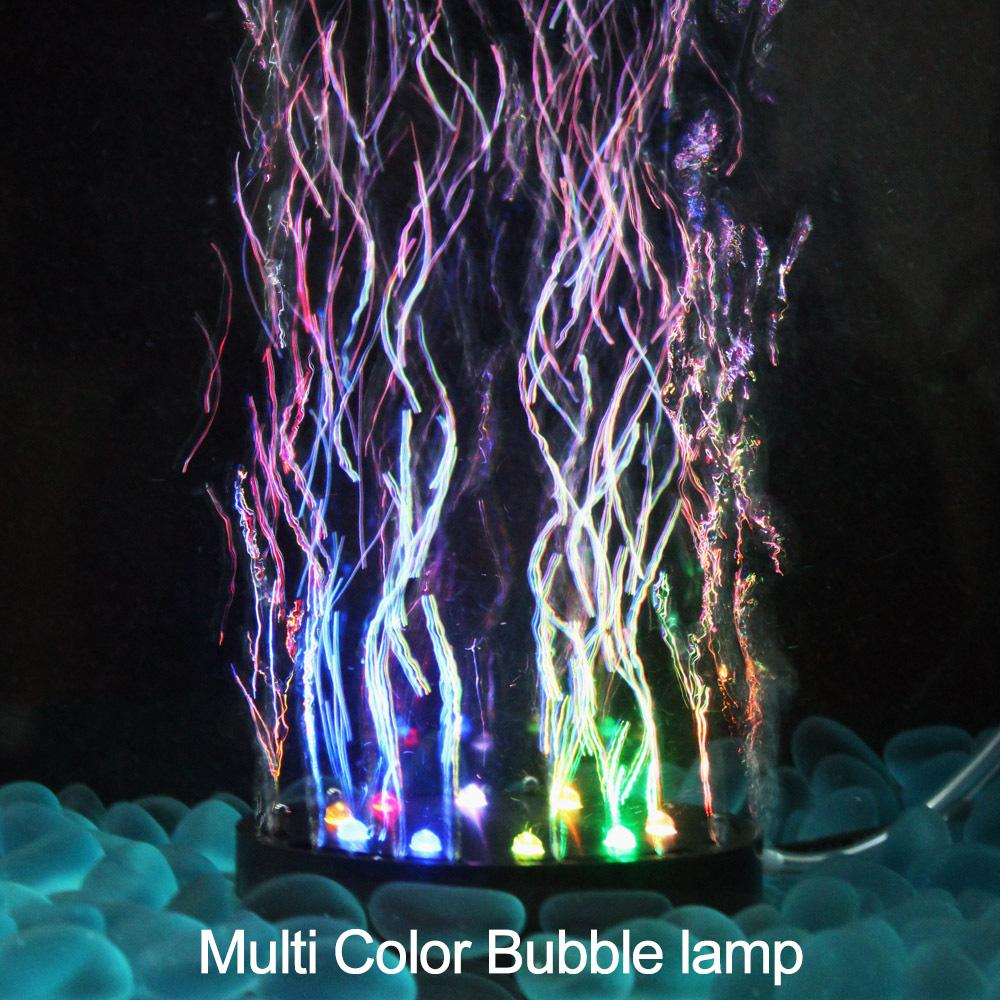 Multi-color Aquarium Diving Lights LED Gas Disk Lamp Round Bubble Fish Tank Landscaping Decoration 9 leds / 12 leds