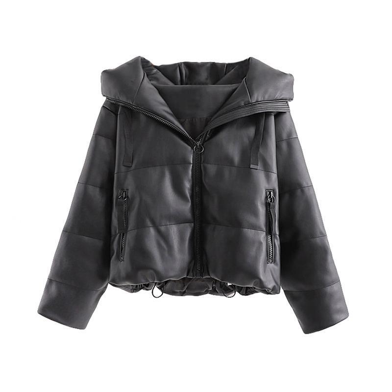빈티지 후드 검은 가죽 자켓 코트 파카 겨울 자켓 여성 여성 호흡기 재킷 한국어 폭격기 2020 스트리트