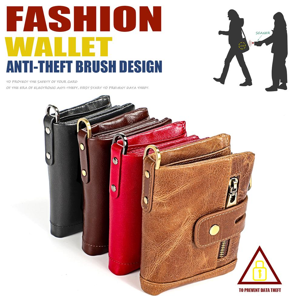 Genuine Leather Fold Over Short Wallet Removable Zipper Coins Purse Multi Card Holders Women Men Cowhide Pouches Zipper Banknote Pocket Gift