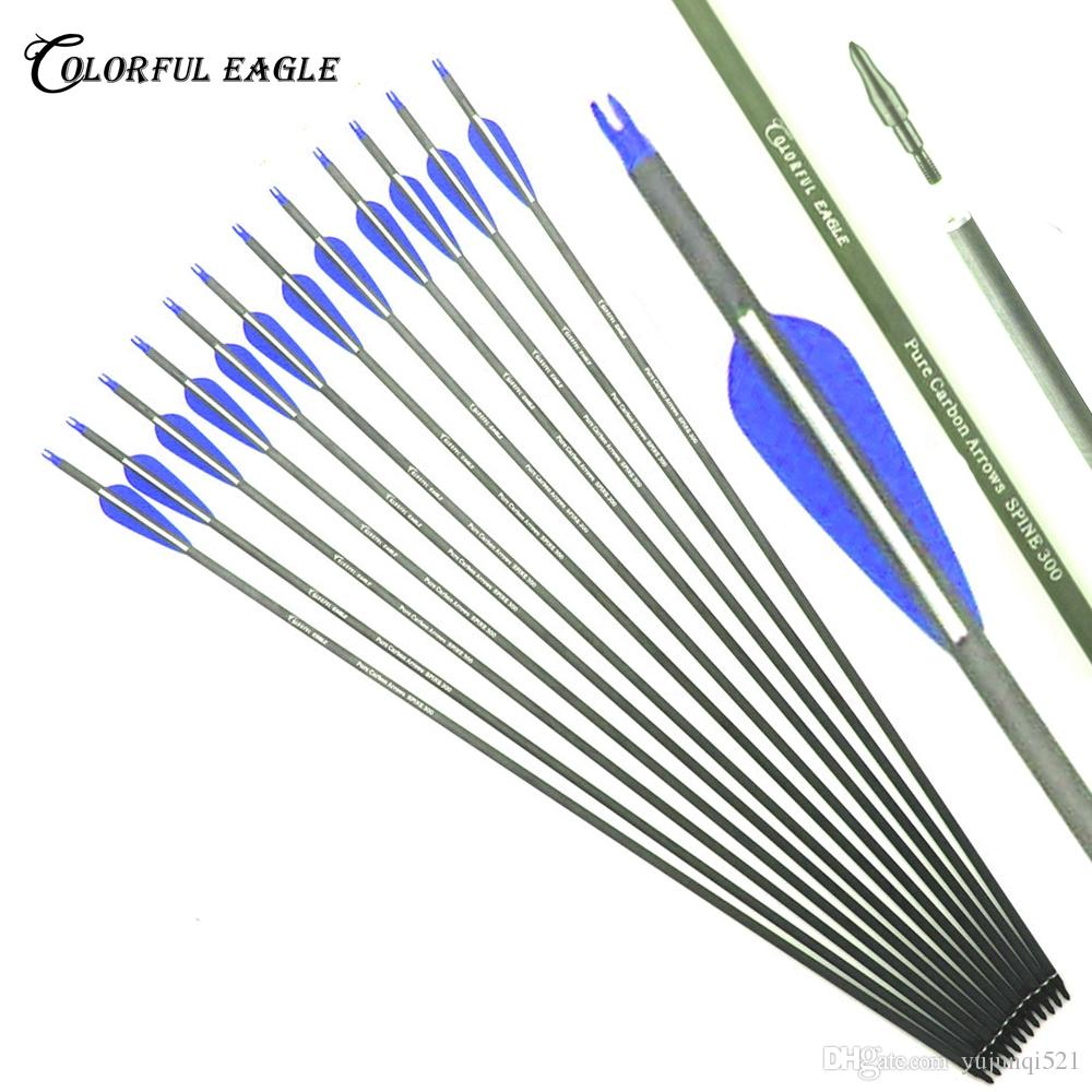 28/30/31 inch Spine 300 400 Archery Pure Carbon Arrow ID 6.2mm Archery For Compound Recurve Bow Arrows Hunting shooting