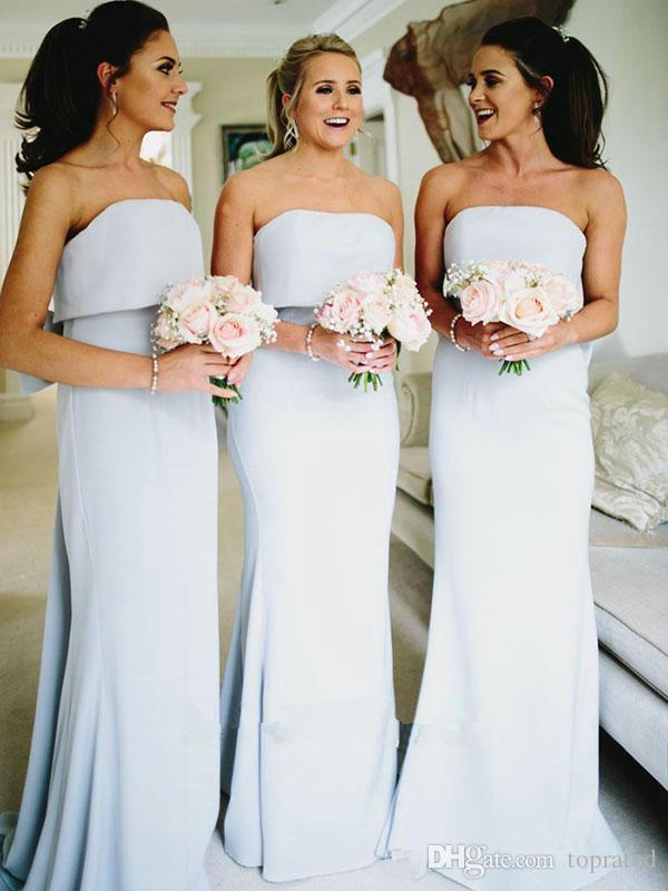 Elegante 2019 Sexy Barato Sem Encosto Dama de Honra Vestidos com Arco Strapless Até O Chão Vestidos de Festa para Convidados Do Casamento Do Partido Vestidos Longos