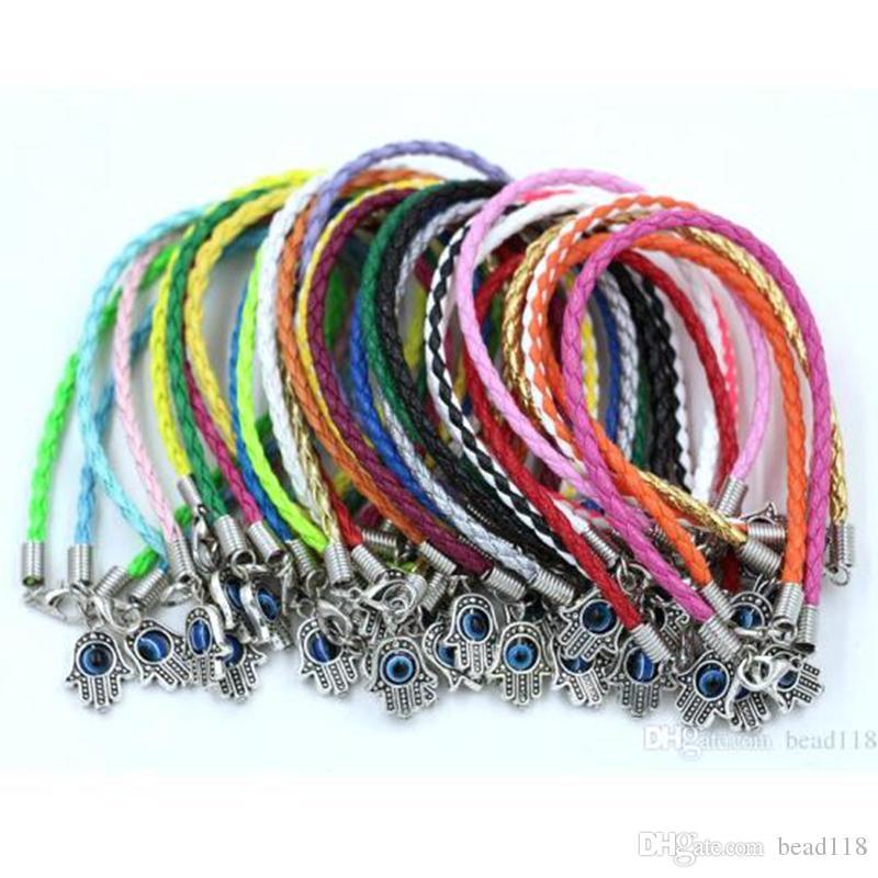 """Hot ! 100Pcs/lots HAMSA HAND """"Turkey eyes"""" Mixed Leather Bracelet - Lucky Charm Pendant Bracelet 17 -21cm"""