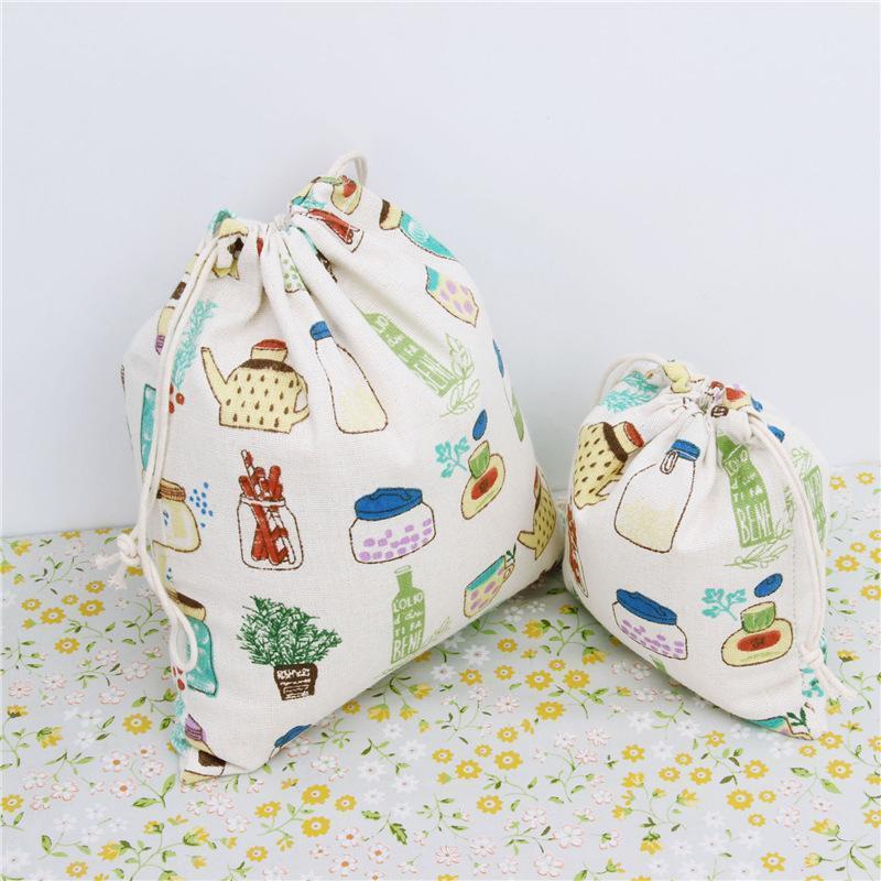 Мультфильм бутылка шаблон 100% хлопок белье шнурок сумка одежда путешествия магазин организатор пыли ткань сумка главная Sundry детские игрушки сумки для хранения