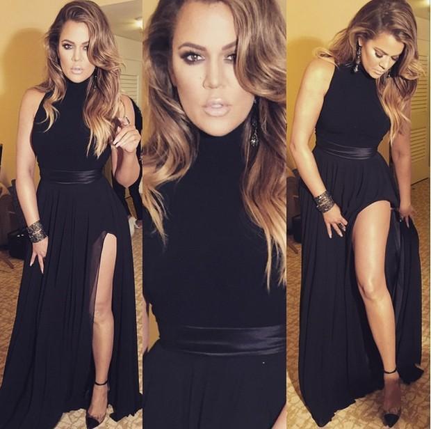 Noir robes de soirée en mousseline de soie col montant avec Sash haut Cuisse de Split Prom Robes longues Robes formelles Party