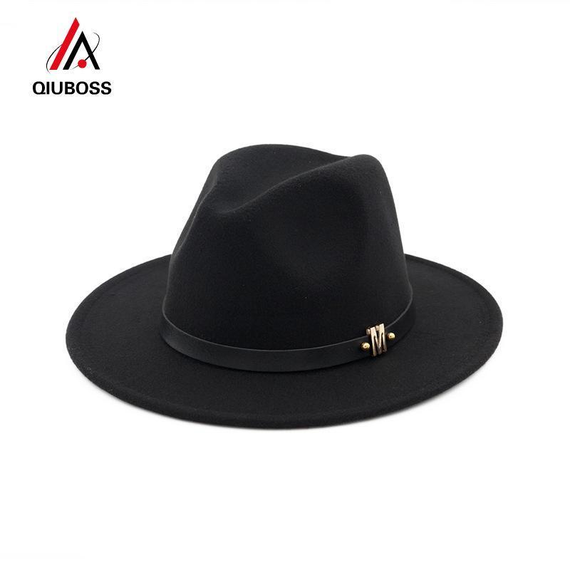 Qiuboss Erkekler Kadınlar Yün Panama Keçe Şapka Geniş Brim Caz Fedora Şapkalar Siyah M Harf Deri Bant dekore Biçimsel Şapka Trilby Qb03 QgavO