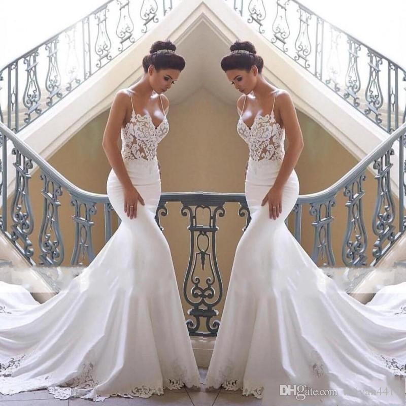 2019 새로운 럭셔리 인어 웨딩 드레스 스파게티 레이스 아플리케 새틴 민소매 법원 열차 섹시한 열린 아랍어 공식 신부 가운