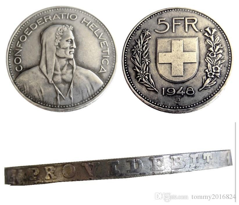 Suisse (Confédération) 1948 Argent 5 Francs (5 Francs) Copie Diamètre de la pièce: 31.45mm Grossiste