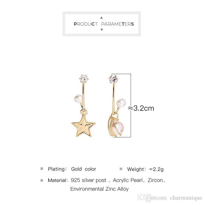 BALANBIU Luxo Presentes Zircon brincos para mulheres Asymmetric Estrela acrílico Pérola cor do ouro brincos moda jóias por atacado