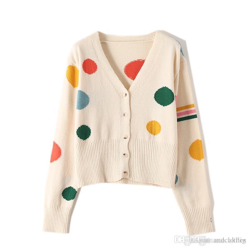 Luxuxfrauen Designer Pullover neue Art und Weise koreanische Version Herbst V-Ausschnitt Female Big Tupfen-dünne lange Sleeved Strickjacke der Frauen lange Strickjacke