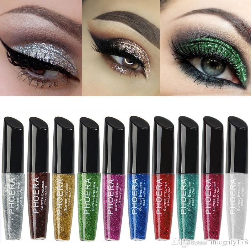12 colors PHOERA Shimmer Glitter Eyes Liner For Women Make Up Easy to Wear Waterproof Liquid Eyeliner Beauty Eye Liner Makeup