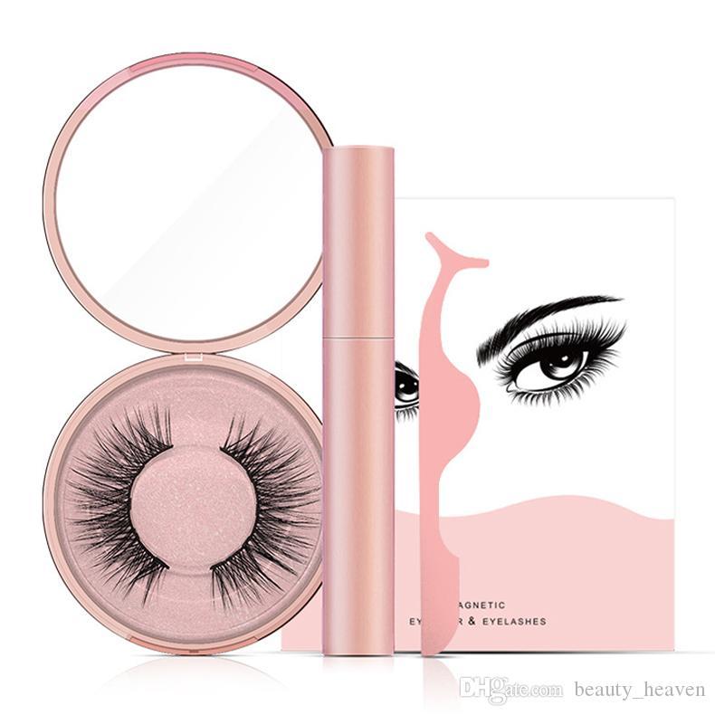 Magnéticas pestañas falsas Líquido delineador de ojos líquido pinzas conjunto hecho a mano visón pestañas extensión maquillaje herramientas gota envío