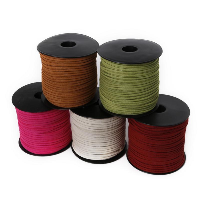 Новое прибытие 19 цветов 3ммов x1.5mm Замша Faux шнур Thread кожа шнурок для одежды Обуви Ювелирных изделий Изготовления выводов 100 ярдов / рулон