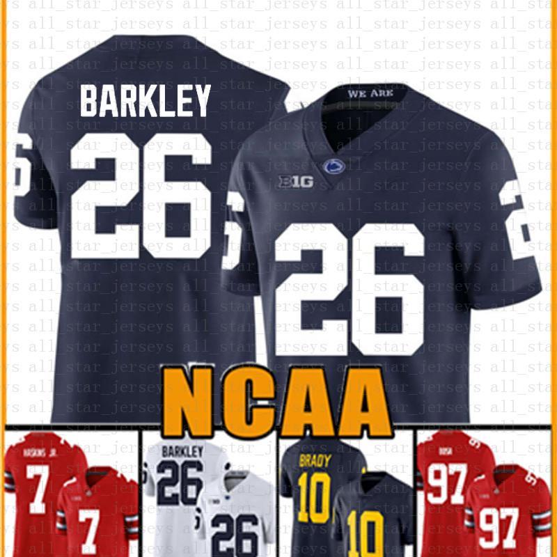 Penn State Nittany Lion 26 Saquon Barkley Futebol Americano Jersey 10 homens Tom Brady 97 Nick Bosa Jerseys