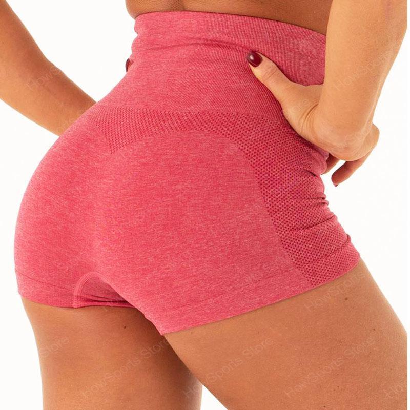 Kadınlar için Howsports spor yoga şort yüksek bel dikişsiz spor şort, kısa pantolon atletik egzersiz legging spor