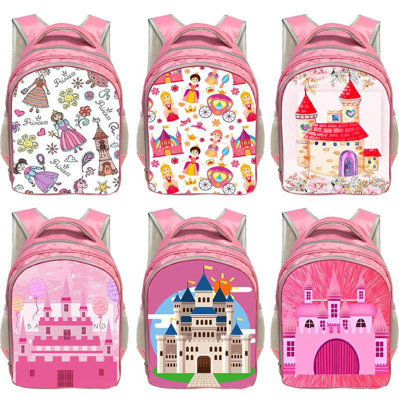 Cute Castle Backpack School Backpack Animation School Bags For Boy Girl Teenager USB Student Bags Men Reflective Leisure Shoulder Bag