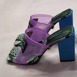 Designer-gh Heel Sandals diapositive superiore a contrasto in pelle scarpe da donna di colore Serpentine Beach 42
