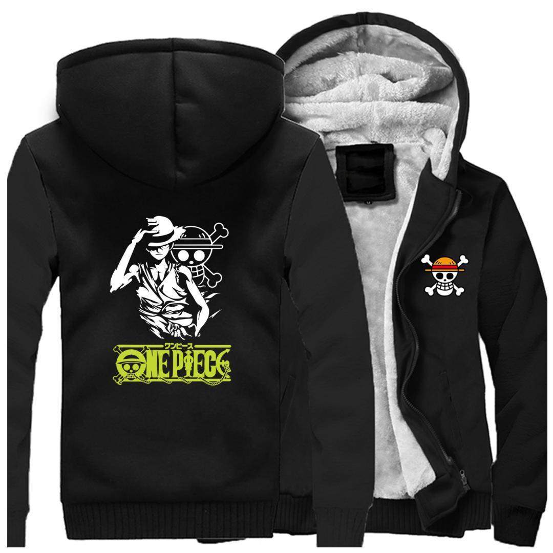 One Piece anime Luffy camisola Hoodies ocasional streetwear japonês Harajuku Marca Jacket homens roupas de inverno quente Grosso Hoodie