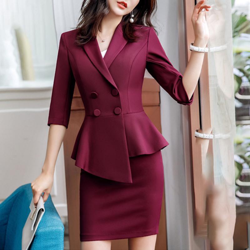 Burgundy Skirt suit 2 Pieces Set fashion business women suit office ladies work wear uniform Interview thin blazer sleeve top