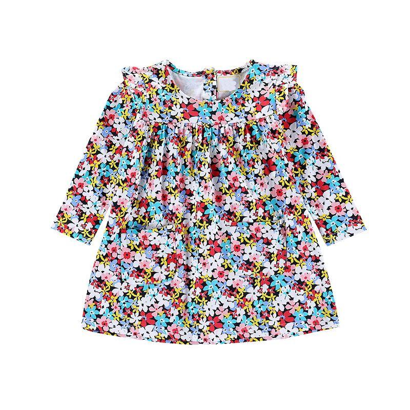Multicolor Floral Kid Designer Clothes Girls Pleated Long Sleeve Dress Princess Skirt With Buttom Back Up Design Shift Skirt
