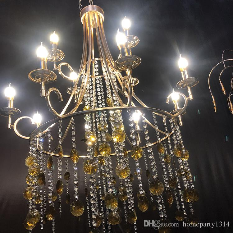 12 heads luxury fashion large crystal ceiling chandeliers decoration for Christmas wedding birthday home grand event stage ceiling hangings