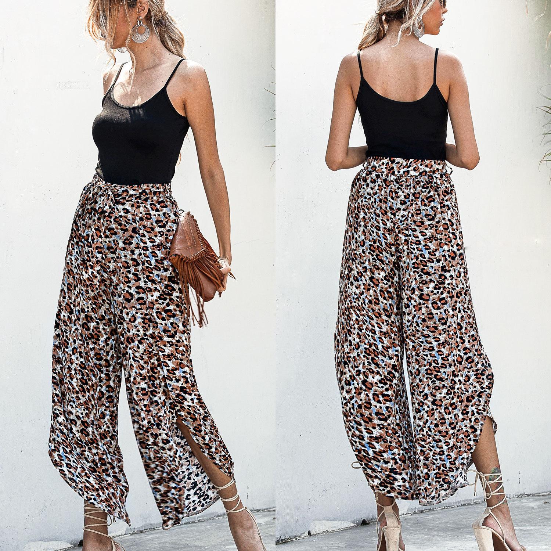 WEPBEL larges Jambes Femmes Pantalons Pantalons Floral Impression Mode d'été en vrac taille haute vacances Streetwear Vêtements pour femmes
