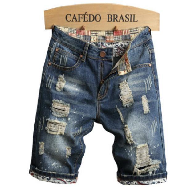 Diseñador de los hombres pantalones vaqueros rasgados vendimia Tideway Pantalones cortos de moda nuevos hombres delgados rectos de los pantalones cortos del Medio cintura Cremallera frontal holgado Pantalón a mitad