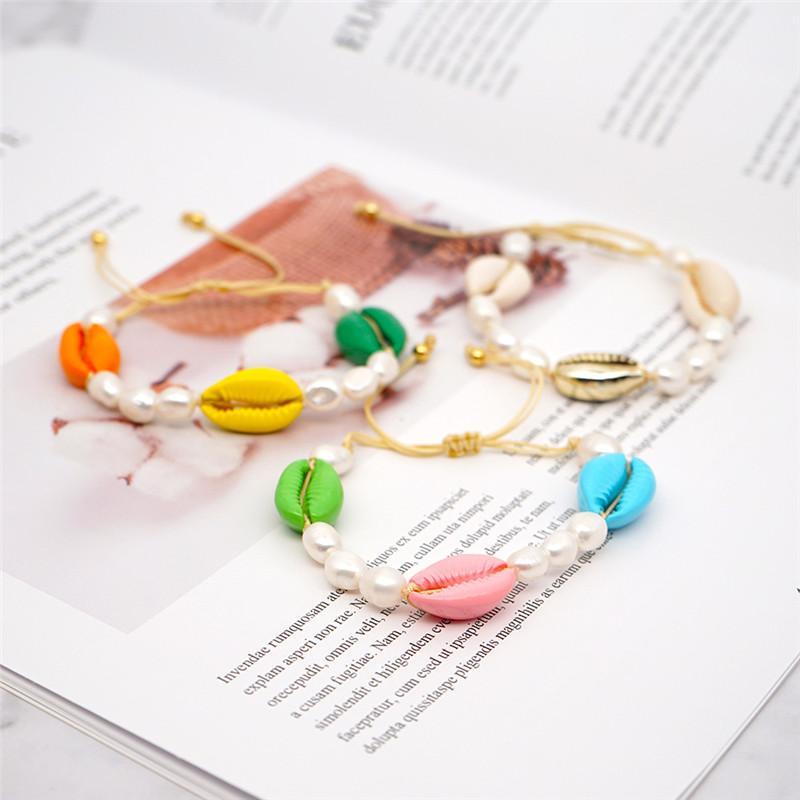 2020 Women Bohemian Beach Natural Seashell Succle Bracelet Hand Foven Freshwater Pearlسوارة صيفية