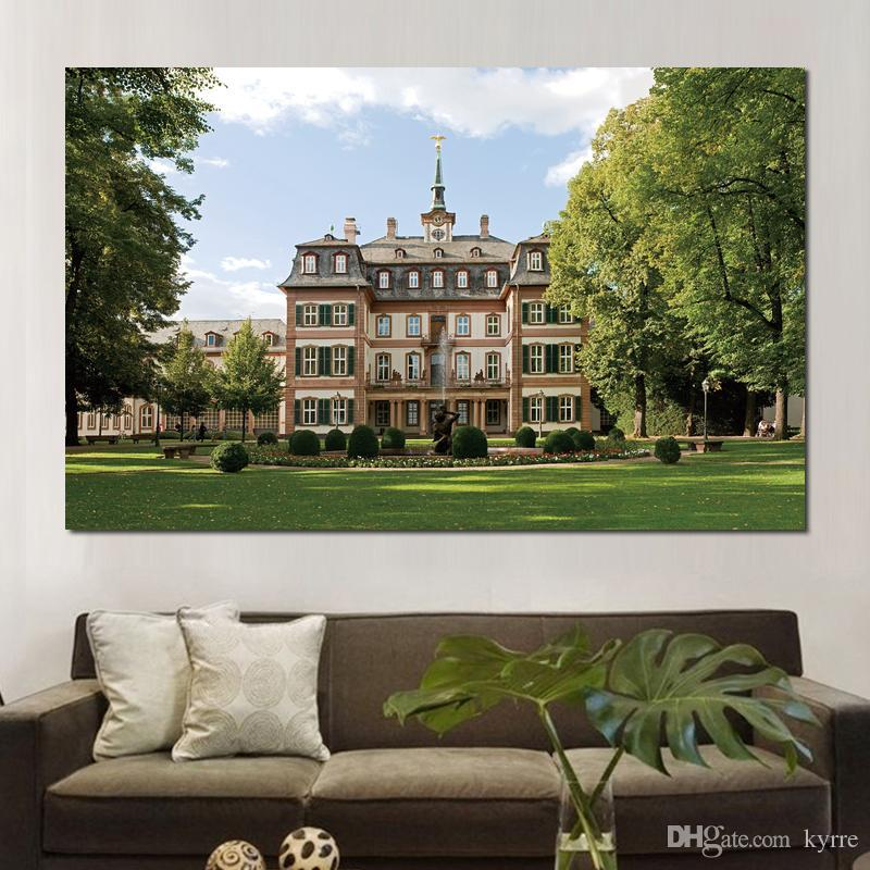 canvas prints painting for living room decoration building fountain grass lawn trees