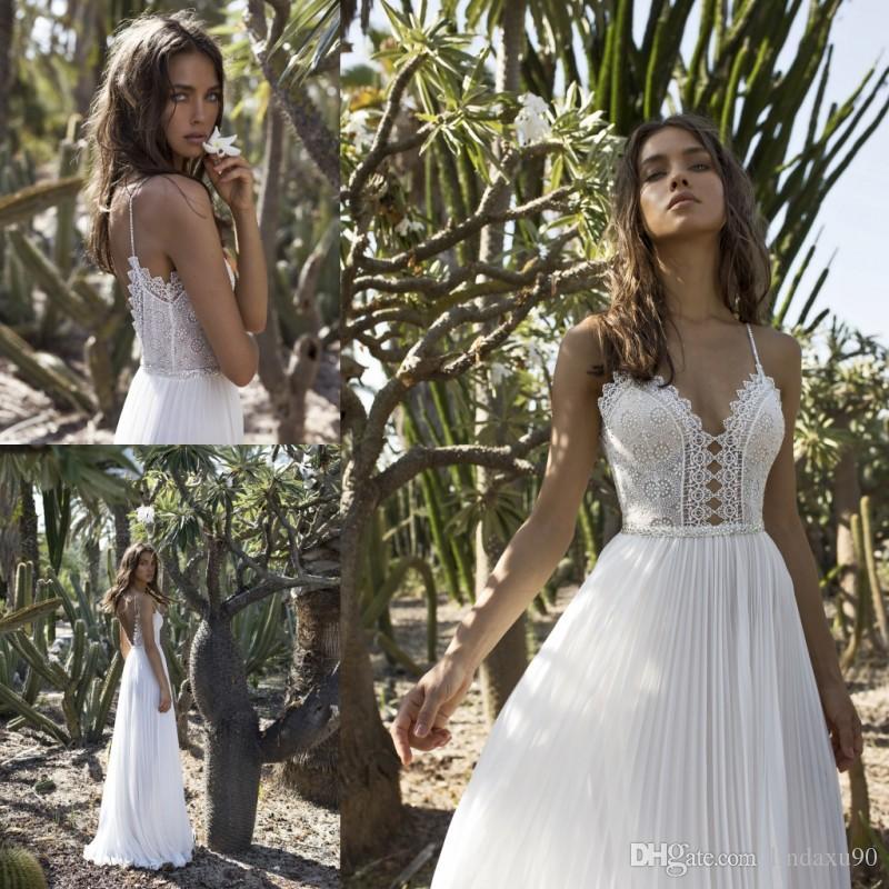 Asaf Dadush Bohemian 2019 Robes De Mariée Spaghetti Neck Strap Dentelle Top Perles Robes De Mariée Pour Beach Gardens Pas Cher Une Ligne Robes De Mariée